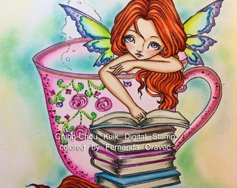 The Moment - Digital Stamp Instant Download / Reading Book Coffee Bookworm Lil Sweetie Mia fairy by Ching-Chou Kuik