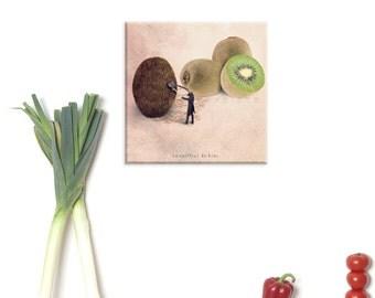 custom print, canvas, canvas wrap, canvas art, Kiwi print, Food photography, Kiwi fruit photograph, Fun art print, Tiny trade, Kitchen decor