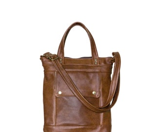Brown Leather Crossbody Bag - Packet in Chestnut Brown Leather - Small Leather Briefcase - iPad Tablet Bag - Made to Order