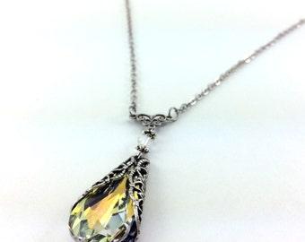 White Crystal Necklace, Swarovski Crystals, Aurora Borealis Crystal, Yellow and Orange Teardrop Pendant, Silver Plated, Bridal Jewelry