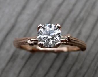 Diamond Twig Engagement Ring: White, Yellow, or Rose Gold; Half Carat; Prong Setting