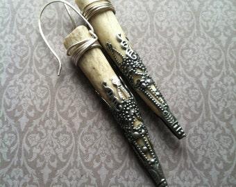 Antler Earrings / Urban Tribal / Boho / Rustic Earrings / Real Deer Antler / shaman / Daniellerosebean / Tribal Earrings
