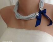 Handmade Weddings Navy Satin Ribbon Necklace,Floral Rhinestone Brooch  brides bridesmaids gifts  special occasion
