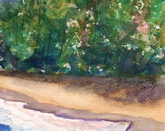 Kauai Seashore 2 Original Watercolor Painting from Kauai Hawaii blue teal turquoise aqua lava rocks
