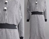 striped sweater dress | raglan sleeve wool dress | M