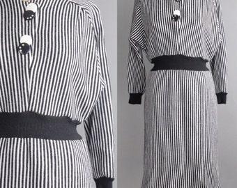 Vintage 1980s Striped Sweater Dress | Raglan Sleeve Wool Dress | M