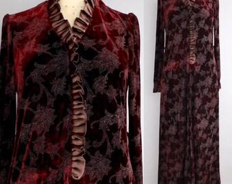 Vintage 1970s Dramatic Bordeaux Velvet Gown | Long Velvet Dress | Satin Ruffled Neckline | S-M