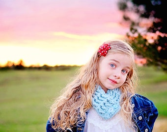 Toddler Scarf Toddler Scarflette Toddler Girl Scarf Toddler Boy Scarf Sky Blue Scarf Blue Scarflette Crochet Scarf Button Cowl Button Scarf