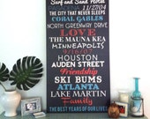 Wedding Reception decor, Wedding About us Destination Vintage Style Art Canvas 20x40 inches
