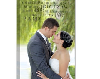 Wedding Vow Art Custom Photo Personalized Art Typography and Photo on Canvas 12x16