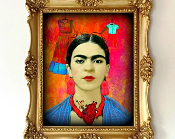 Frida Kahlo Instant Digital Download After Memory the Heart Portrait Retro Art Print Boho Photomontage Aqua Blue Red Black White Pink Orange