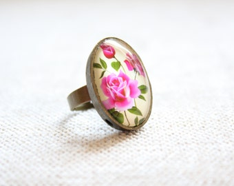 Romantic Spring Floral Rose Cameo Ring