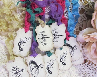 Masquerade Ball Tags Party Favor Parchment Gift Tags or Cupcake Toppers - Set of 18 - Choose Ribbon Color - Mask Birthday Shower Mardi Gras