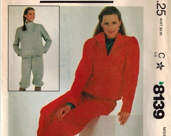 Vintage 80's Sewing Pattern, Misses' Sweatsuit, Knickers, Jacket, Size Medium