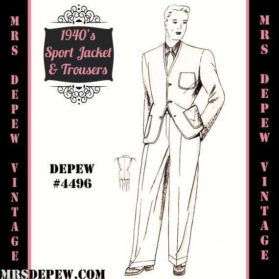 Men's Vintage Reproduction Sewing Patterns 1940s Mens Sport Jacket and Trousers in Any Size Depew 4496 - Plus Size Included -INSTANT DOWNLOAD- $9.50 AT vintagedancer.com