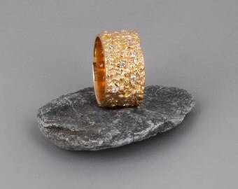 Unique Engagement Ring, Gold CZ Ring, Wide Gold Ring, CZ Diamond Ring, Alternative Engagement Ring, Rose Gold Engagement Ring, Organic Ring