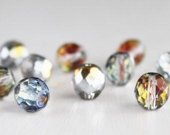 12 Clear Marea 10mm Czech Glass Faceted Rounds - Czech Glass Beads