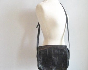 Vintage Black Leather Large Crossbody Satchel Style Purse- Made in Italy