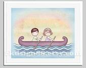 Baby nursery art, boat, sea, couple art, kids wall art, children decor, sibling, brown blonde - Stronger 8x10