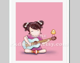 Baby nursery decor, girl room decor, baby girl nursery art print, music room, kids wall art, brown hair acoustic - Guitar Lesson 2
