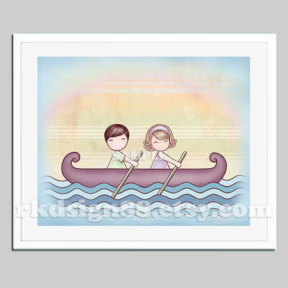 Baby nursery art, boat, sea, couple art, kids wall art, children decor, sibling, brown blonde - Stronger 8x10