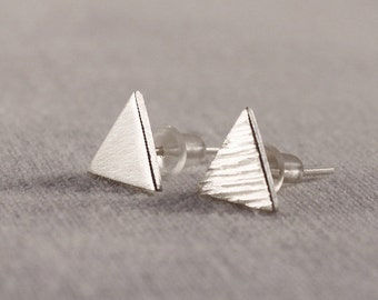 Triangle stud earrings, Sterling silver stud earrings, Minimalist earrings, Geometric stud earrings, Dainty stud earrings, Bridesmaid gift