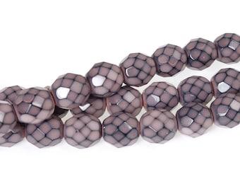 8mm DUSTY PINK Snake Beads - 19 Pcs - Fire Polish Czech Glass Beads - Muted Salmon Pink Beads - Dusty Rose Pink