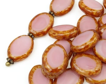 24 Pink Beads 9mm x 12mm Oval Czech Glass Beads - CORAL PINK PICASSO Beads for Valentine's Day Jewelry Supplies Dusty Rose Pink