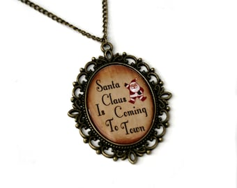 Santa Claus Is Coming To Town, Christmas Song Cameo Necklace, Xmas Illustration, Stocking Stuffer