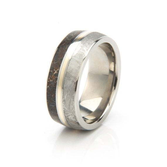 asteroid wedding band mini bridal