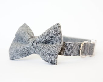 Bowtie Dog Collar - Grey Herringbone