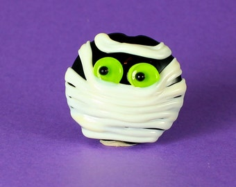 Made to Order, Halloween Beads, Lampwork Glass Bead, Mummy Pendant, Lime Green Eyes, Jewelry Supplies, Donna Trull