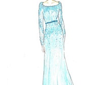 Girl in teal dress fashion illustration, turquoise gown with bow belt, girls bedroom fashion wall art, fashion sketch by Zoia