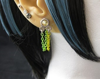 "Industrial Stainless Steel Hex Nut Earrings, Green and Yellow - ""Lemon-Lime"""
