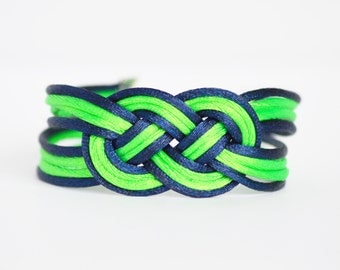 Bright green and navy blue large double infinity knotted nautical rope bracelet