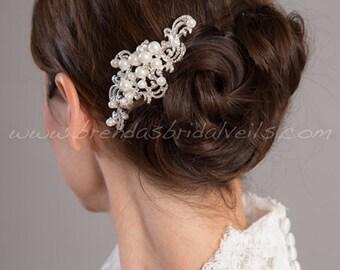 Wedding Hair Comb, Pearl and Rhinestone Bridal Hair Comb, Bridal Headpiece, Wedding Hair Accessory - Alicia