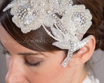 Bridal Rhinestone Pearl Headpiece, Wedding Hair Comb, Bridal Rhinestone Comb, Wedding Hair Accessory - Tremeka