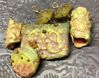 201. Wondrousstrange Raku Lost My Mojo With A Flourish  Green Yellow Pink Raku Primitive Shapes  Six Statement Focals