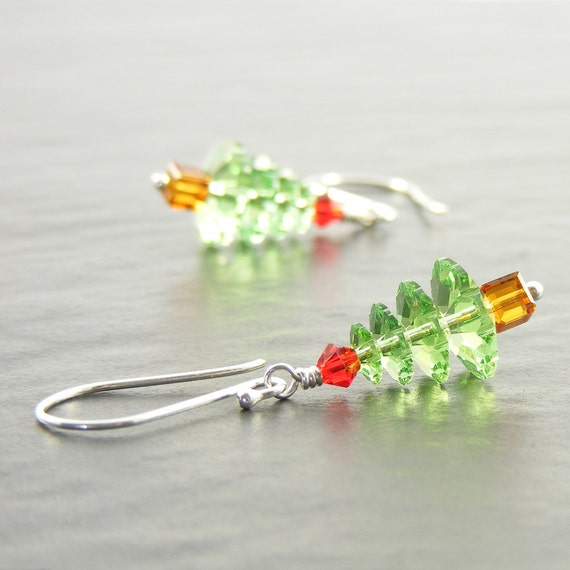Green Christmas Tree Earrings by Erika Price Jewellery