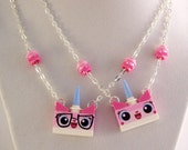 Biznis Kitty® Necklace *LAST ONE* Sterling Silver Plated Chain & Clasp - Crafted From LEGO® Elements