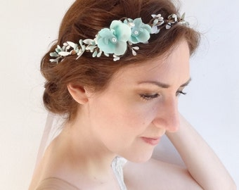 mint flower headband, floral crown, aqua bridal flower circlet, orchid, hair vine, floral vine, mint floral hairpiece, wedding hair piece