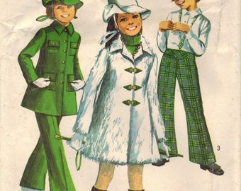 1960s Simplicity 8478 Vintage Sewing Pattern Girl's Mini-Coat, Bell Bottom Pants, Hat Size 7