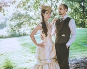 "Steampunk Wedding Dress - Off the Shoulder Gown- Corset Bustle Skirt-  ""Victorian Beauty"" Custom to Order - Petite to Plus size"