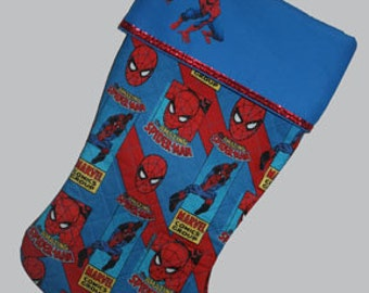 PERSONALIZED Spiderman Christmas Stocking, Spiderman Stocking, Quilted Stocking, Stocking, Spiderman, Ready to Ship