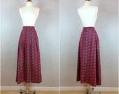 Vintage 60's cotton maxi skirt / a-line maxi skirt / floor length paisley skirt
