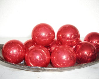 red Christmas ornaments - vintage glass balls with mottled, crackly patina - shabby cottage chic - ornate hollywood regency set of 10