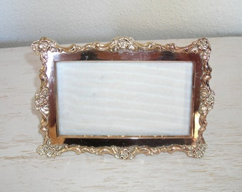 silver oneida picture frame - ornate design with flowers - shabby cottage chic - ornate hollywood regency