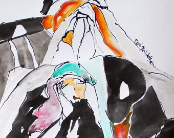 Rendezvous - Set of 8 Notecards - 5x7 -  from original India Ink and watercolor painting. Two women, standing and repose