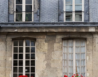 Paris Photography, Red Window Box Paris Print Extra Large Wall Art Prints, Paris Wall Decor