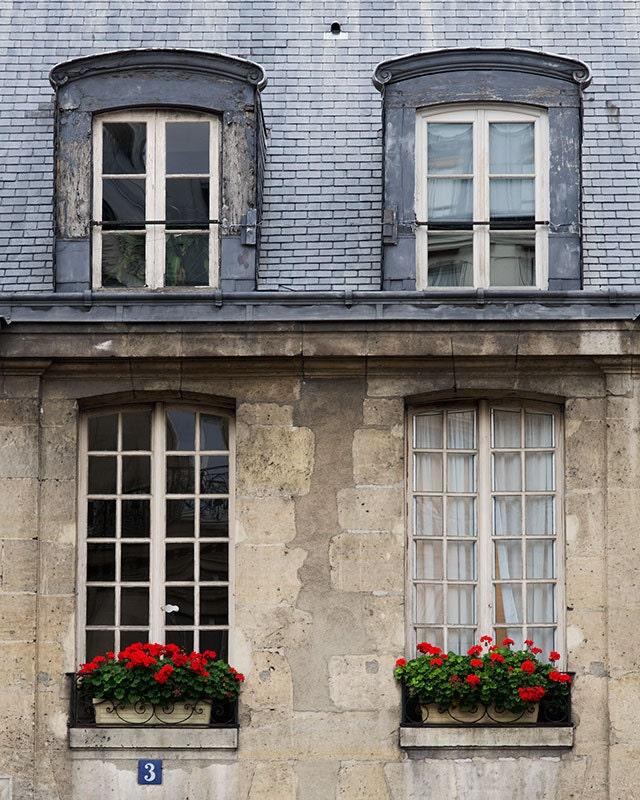 Paris Photography, Red Window Box Paris Print Extra Large Wall Art Prints, Paris Wall Decor